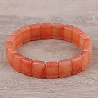 Agate beaded stretch bracelet, 'Orange Whispers' - Handmade Orange Whispers Agate Beaded Stretch Bracelet