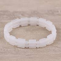 Rainbow moonstone and agate beaded stretch bracelet, 'White Bliss' - Rainbow Moonstone and Agate White Bliss Beaded Bracelet