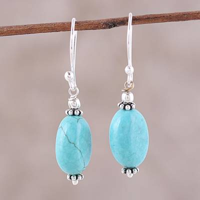 Sterling silver dangle earrings, 'Cloudless Sky' - Sterling Silver and Recon Turquoise Dangle Earrings