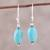 Sterling silver dangle earrings, 'Cloudless Sky' - Sterling Silver and Recon Turquoise Dangle Earrings thumbail