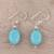 Sterling silver dangle earrings, 'Cloudless Sky' - Sterling Silver and Recon Turquoise Dangle Earrings (image 2b) thumbail