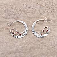Garnet half-hoop earrings, 'Cherry Crescents' - Garnet Half-Hoop Earrings Crafted in India