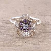 Rainbow moonstone and amethyst cocktail ring, 'Radiant Soul' - Floral Rainbow Moonsotne and Amethyst Ring from India