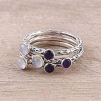 Rainbow moonstone and amethyst stacking rings, 'Mystic Union' (set of 3) - Three Rainbow Moonstone and Amethyst Stacking Rings