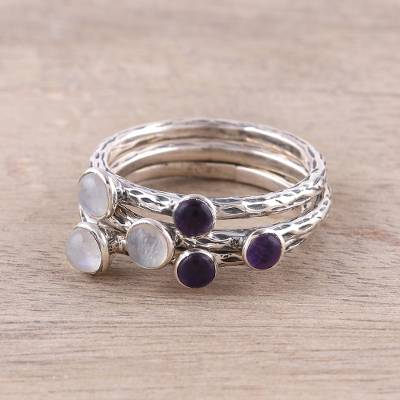 gold d initial necklace - Three Rainbow Moonstone and Amethyst Stacking Rings