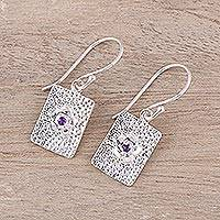 Amethyst dangle earrings, 'Floral Pictures' - Rectangular Floral Amethyst Dangle Earrings from India