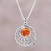 Featured review for Amber pendant necklace, Sunny Garden