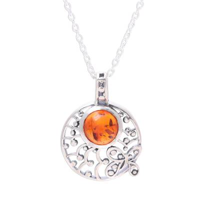Amber pendant necklace, 'Sunny Garden' - Sterling Silver and Amber Round Butterfly Pendant Necklace