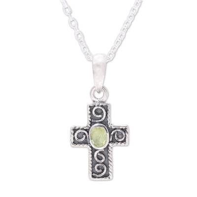 Peridot pendant necklace, 'Hope and Faith' - Sterling Silver and Green Peridot Cross Pendant Necklace