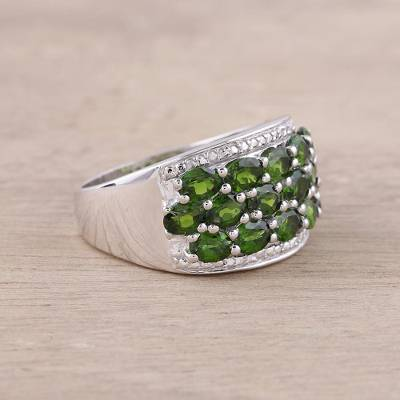 Sterling Silver Green Chrome Diopside Cocktail Ring