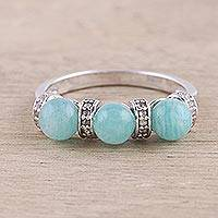 Rhodium plated amazonite and white topaz cocktail ring, 'Aqua Globes' - Sterling Silver Amazonite and White Topaz Cocktail Ring