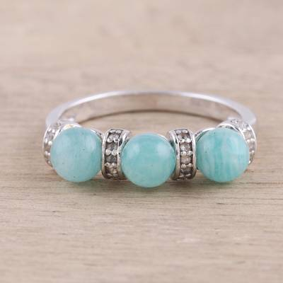 wide silver ring womens tank - Sterling Silver Amazonite and White Topaz Cocktail Ring