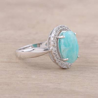 Rhodium plated amazonite and white topaz cocktail ring, 'Ocean Princess' - Sterling Silver Blue Amazonite White Topaz Cocktail Ring