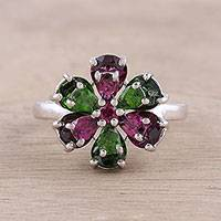 Rhodium plated rhodolite and chrome dipopside cocktail ring, 'Flower Dazzle' - Rhodium Plated Floral Gemstone Cocktail Ring from India