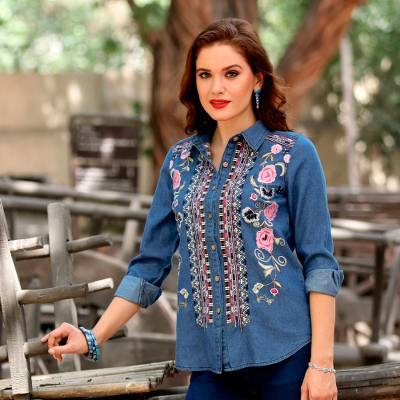 Denim blouse, 'Roses and Pansies' - Handcrafted Blue Cotton Denim Embroidered Long Sleeve Blouse