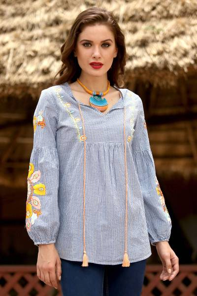 Cotton tunic, 'Floral Boho' - Plaid Floral Boho Embroidered Cotton Long-Sleeved Tunic