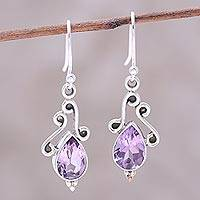 Amethyst dangle earrings, 'Windy Drops' - Swirl Motif Amethyst Dangle Earrings from India