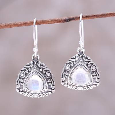 Rainbow moonstone dangle earrings, 'Waterfall Mist' - Sterling Silver and Rainbow Moonstone Triangle Earrings