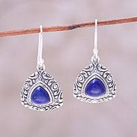 Lapis lazuli dangle earrings, 'Deep Blue Pyramids' - Sterling Silver and Lapis Lazuli Pyramid Dangle Earrings
