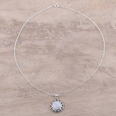 Rainbow moonstone pendant necklace, 'Glowing Moonlight' - Indian Sterling Silver and Rainbow Moonstone Necklace