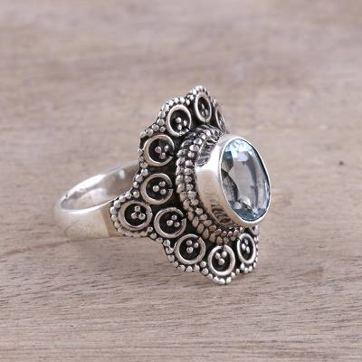 Sterling Silver and Blue Topaz Floral Dotted Cocktail Ring