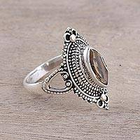 Citrine cocktail ring, 'Sunny Majesty' - Ornate Sterling Silver and Yellow Citrine Cocktail Ring