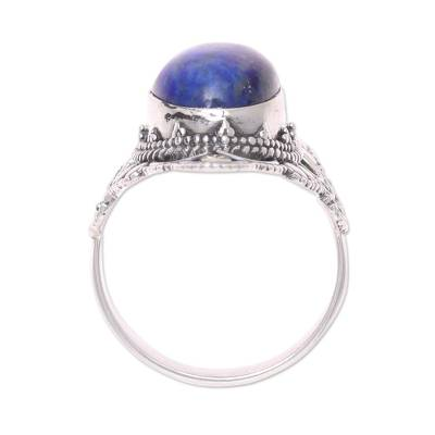 Lapis lazuli cocktail ring, 'Blue Tradition' - Blue Lapis Lazuli and Sterling Silver Cocktail Ring