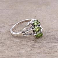 Featured review for Peridot cocktail ring, Sparkling Leaf Trio