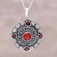 Carnelian and garnet pendant necklace, 'Red Medallion' - Red Garnet and Carnelian Round Medallion Pendant Necklace