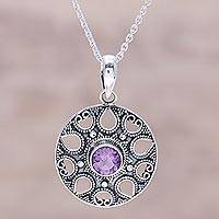 Amethyst pendant necklace, 'Lilac Fountain' - Amethyst and Sterling Silver Medallion Pendant Necklace