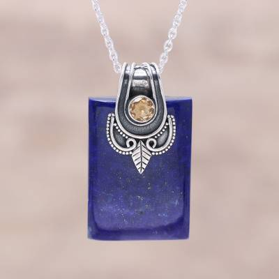 Lapis lazuli and citrine pendant necklace, 'Royal Talisman' - Lapis Lazuli and Sterling Silver Royal Pendant Necklace