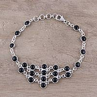 Onyx link bracelet, 'Midnight Orbs' - Sterling Silver and Black Onyx Midnight Orbs Link Bracelet
