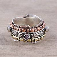 Amethyst meditation ring, 'Eclectic Harmony' - Multi-Metal Amethyst Rotating Meditation Spinner Ring