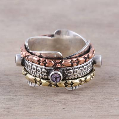 Multi-Metal Amethyst Rotating Meditation Spinner Ring