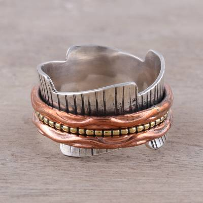 Sterling silver meditation ring, 'Eclectic Union' - Sterling Silver Copper and Brass Spinner Meditation Ring