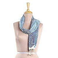 Organic silk scarf, 'Chevron' - Royal Blue on Ivory Chevron Hand Printed Organic Silk Scarf