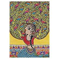 Madhubani painting, 'Mother Nature' - Signed Madhubani Painting of Mother Nature from India