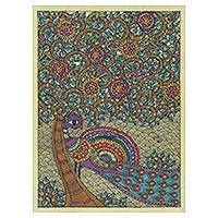 Madhubani painting, 'Majestic Peacock' - Original Madhubani Painting of a Colorful Peacock from India