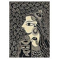 Madhubani painting, 'The Powerful Lord Shiva' - Black and White Madhubani Painting of Shiva from India