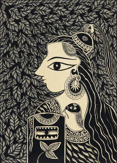 Black and White Madhubani Painting of Shiva from India