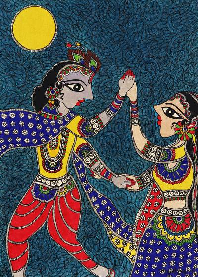 Original Madhubani Painting of Radha and Krishna from India
