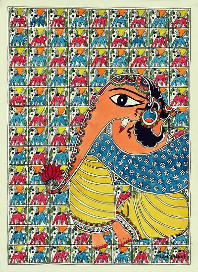 Original Madhubani Painting of Ganesha from India
