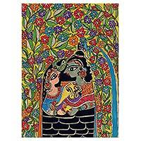 Madhubani painting, 'The Happy Family' - Original Madhubani Painting of Hindu Gods from India