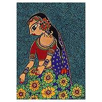 Madhubani painting, 'In Love with Nature I' - Signed Madhubani Painting of a Woman with Flowers from India