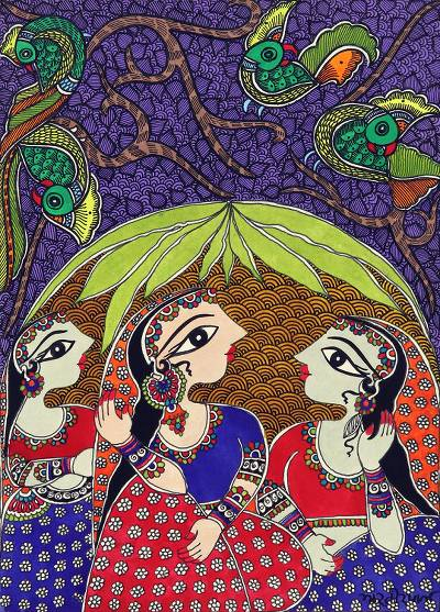 Colorful Madhubani Painting of Three Women from India