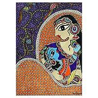 Madhubani painting, 'Mother and Child' - Madhubani Painting of Hindu Mother and Child from India