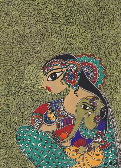 Hindu Madhubani Painting of Parvati and Ganesha from India