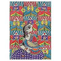 Madhubani painting, 'Human and Nature' - Madhubani Painting of a Woman with Birds from India