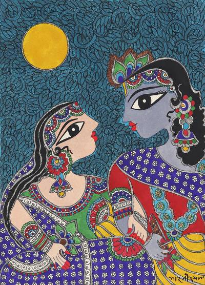 Hindu Madhubani Painting of Krishna and Radha from India