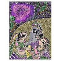 Madhubani painting, 'Riddhi Shiddhi' - Madhubani Painting of Ganesha with Wives from India
